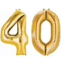XXL balona številka 40, zlata