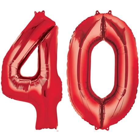 XXL balona številka 40, rdeča
