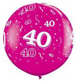 XXL lateks balon 40 let, wild berry