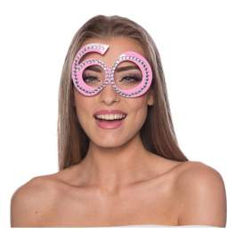 Očala za 60 rojstni dan, pink z biseri