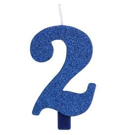 Modra blešečeča svečka številka 2