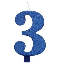 Modra blešečeča svečka številka 3