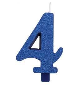 Modra blešečeča svečka številka 4