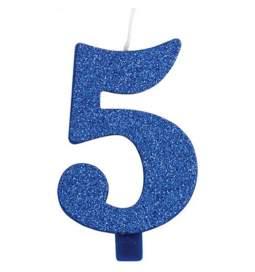 Modra blešečeča svečka številka 5