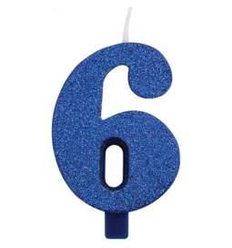 Modra blešečeča svečka številka 6