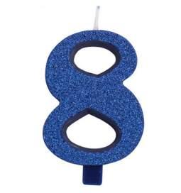 Modra blešečeča svečka številka 8
