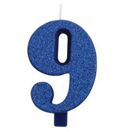 Modra blešečeča svečka številka 9