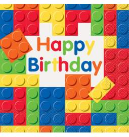 Serviete 33x33 cm, Kocke Happy Birthday
