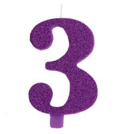 Vijolična blešečeča svečka številka 3
