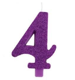 Vijolična blešečeča svečka številka 4