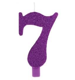 Vijolična blešečeča svečka številka 7