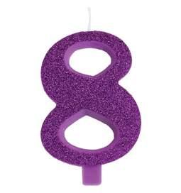 Vijolična blešečeča svečka številka 8