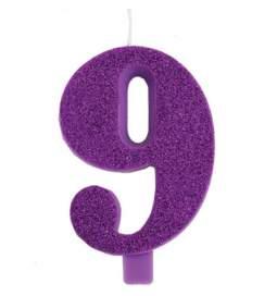 Vijolična blešečeča svečka številka 9