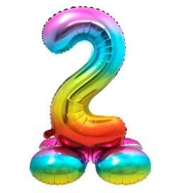Mavrični balon številka 2 s podstavkom