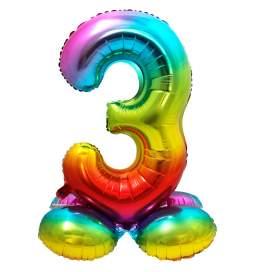 Mavrični balon številka 3 s podstavkom