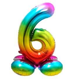 Mavrični balon številka 6 s podstavkom