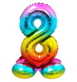 Mavrični balon številka 8 s podstavkom