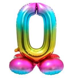 Mavrični balon številka 0 s podstavkom