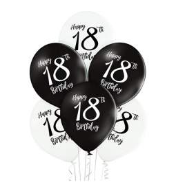 Črno beli baloni 18 rojstni dan 6/1