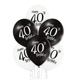 Črno beli baloni 40 rojstni dan 6/1