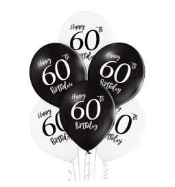 Črno beli baloni 60 rojstni dan 6/1
