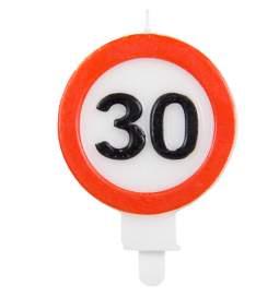 Svečka za 30 rojstni dan Stop znak