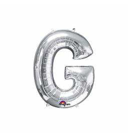 XXL balon črka G, srebrna 86 cm