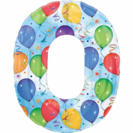 XXL balon številka 0, pisan