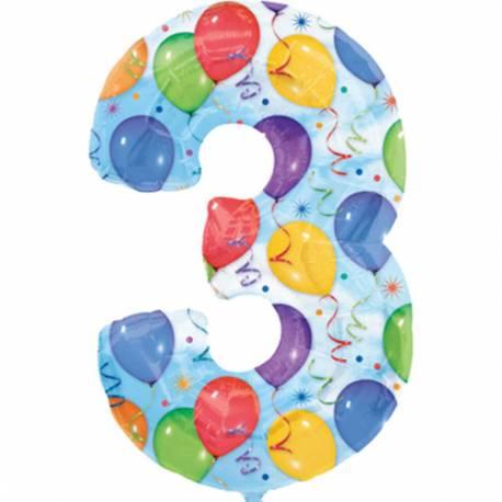 XXL balon številka 3, pisan