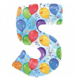 XXL balon številka 5, pisan