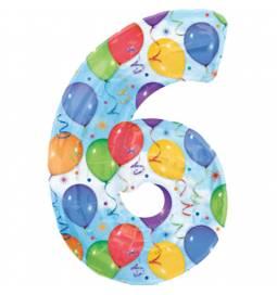 XXL  balon številka 6, pisan