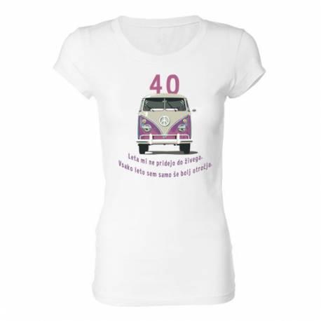 Ženska majica za 40 let, Roza Vw kombi