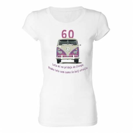 Ženska majica za 60 let, Roza Vw kombi