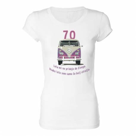 Ženska majica za 70 let, Roza Vw kombi