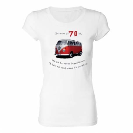 Ženska majica za 70 let, Rdeč Vw kombi