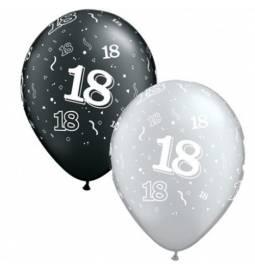 Črno srebrni baloni za 18 rojstni dan 10/1
