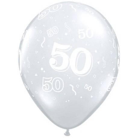 Diamond Clear baloni za 50 rojstni dan, 25/1