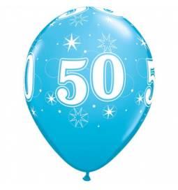Sparkle Blue baloni za 50 rojstni dan, 10/1