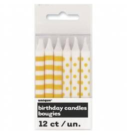 Rumene svečke s pikami in črtami