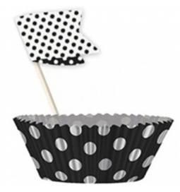 Set za muffine, Črn s pikami