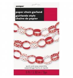 Rdeča papirnata veriga s pikami