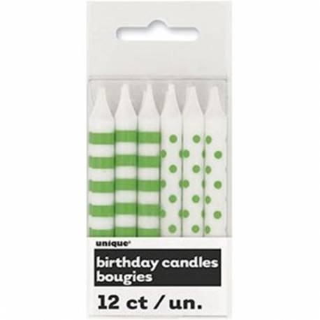 Zelene svečke s pikami in črtami