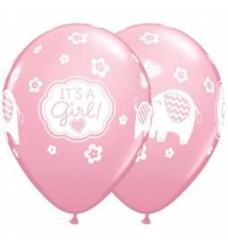 Baloni za rojstvo Its a Girl slončki
