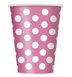 Kozarčki 355 ml, pink s pikami 6/1