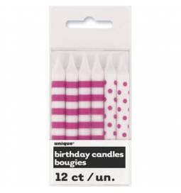 Pink svečke s pikami in črtami