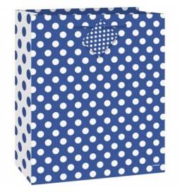 Darilna vrečka, Modra s pikami