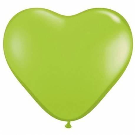Srce baloni 15 cm, zeleni 10/1