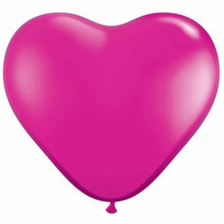 Srce baloni 15 cm, magenta 10/1