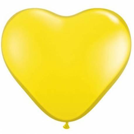 Srce baloni 15 cm, citron rumeni 10/1