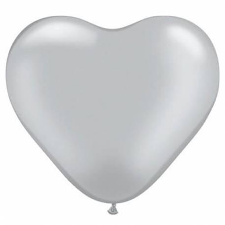 Srce baloni 15 cm, srebrni 10/1